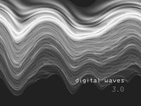Digital waveforms illustration v3.0 canvas editing poster black and white background digital art label music album art audio sound wave waveform print abstract cover geometric branding geometry illustration