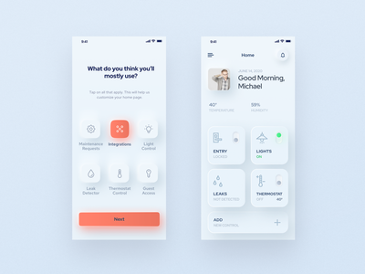 Smart home neumorphic mobile app iphone home screen ui  ux residential smarthome smartphone icons product design services door thermostat integrations controls smart device building smart home application native app mobile app neumorphism