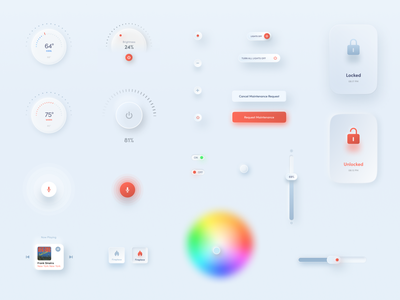 Neumorphic UI elements and controls switch product design device controls smart light smart lock skeumorphism user inteface design system design library slider knob voice assistant thermostat smart home figma ui set mobile app ui design neumorphic neumorphism