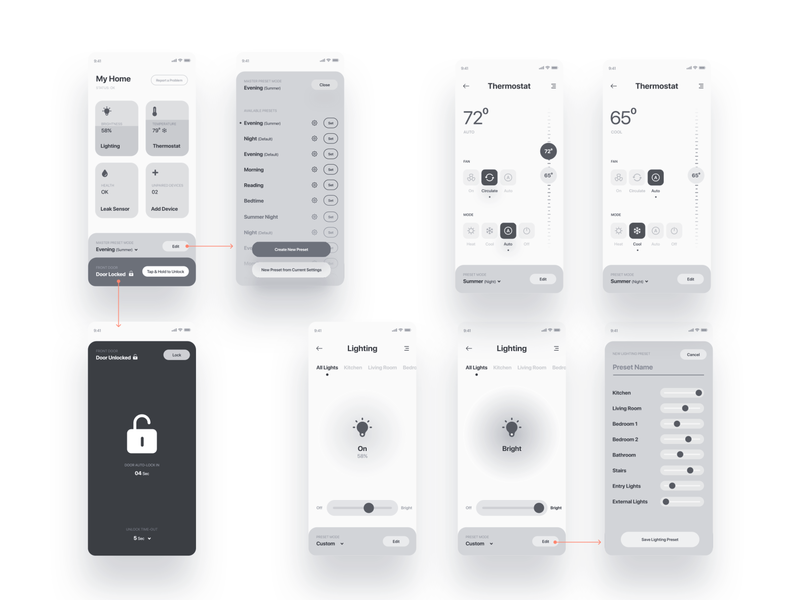 Smart home app / presets module usability pattern product design modules settings user flow wireframes air condition thermostat smart lock lighting presets controls smart devices mobile app smart app module patterns user experience design ux usability smart home