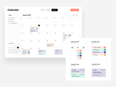 Responsive calendar UI - events categories information architecture ux mobile date calendar app calendar columns cell cards ui notes counter categories table filters entry event calendar timetable schedule calendar ui responsive design