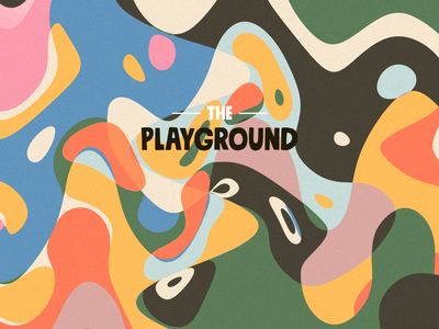 The playground poster illustration shapes games joy happy colors poster canvas print colorful kids play children playground print abstract cover geometric branding geometry vector illustration