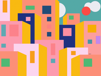 City in the mexican desert, canvas print print latin hot digital art prints poster home decor wall art canvas print urban sun mexico city mexican desert mexico art direction cover geometric illustration vector