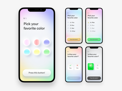 Light relaxing quiz app user interface product design vector figma ios modern pale neumorphism survey questionnaire quiz girly feminine gradients iphone app interface ui  ux calm light relaxing mobile app