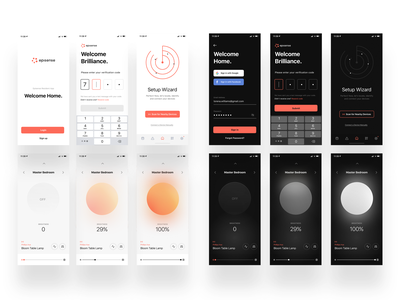Smart home resident ios app saas app devices smart home home startup lightning product design ui  ux ios app light dark mode switch smart controls lights building real estate automation residential application mobile