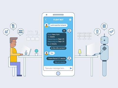 Chatbots Illustration finished sevice messenger conversation robot bot chat chatbots