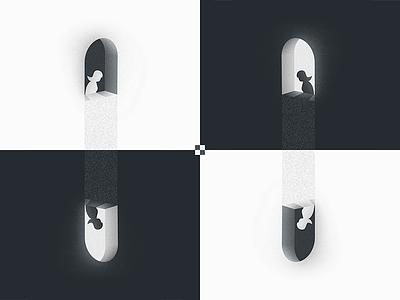 Escheresque black-and-white impossible geometry reflet noise window woman mcesher escher