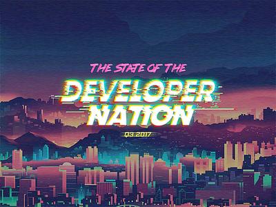 Survey Q3 2107 Art Direction & Identity logo lettering effects city nation developer 80s retro futuristic cyberpunk glitch survey