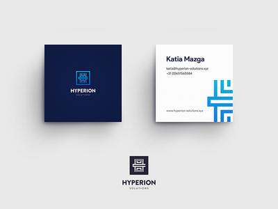 Hyperion Solutions Business Cards logomark hyper greek professional-card visual icon-mark logotype-presentation logo-design brand-identity branding business-cards mockup