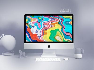 Free digital-art 5k wallpaper download download print liquid-colours composition imac-mockup 5k background hd freebie free-wallpaper color-brush digital-painting