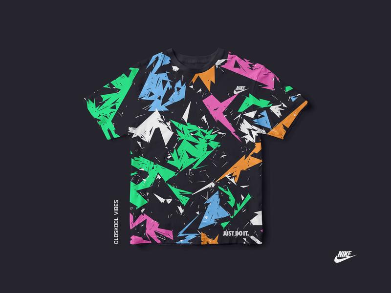 "Nike ""oldskool vibes"" t-shirt funky geometric illustration trend memorabilia vibes artdirection culture hiphop oldschool oldskool eighties 80s brand just do it mockup t-shirt vector graphic nike"