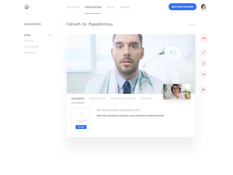 Medical app video consultation screen