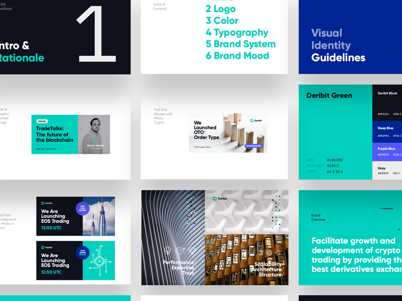 Brand guidelines / brandbook screens geometric presentation design brand development crypto exchange trading bold fresh modern block chain crypto presentation logotype brand guide design system brand guidelines brand and identity typography branding logo art-direction