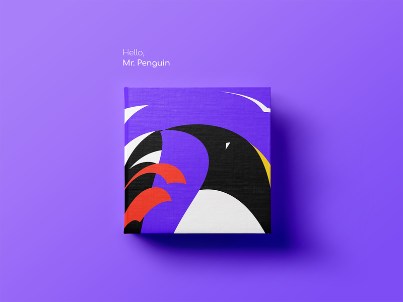 Mr. Penguin vector illustration mister minimalism creative direction publishing penguin kids purple childrens book illustration childrens book book icon print shapes abstract geometric cover art-direction geometry vector illustration