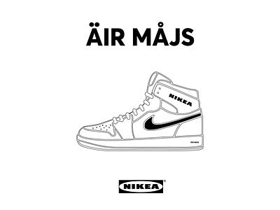 nikea air max / mashup product parody advertising logotype logo art direction nike air product technical illustration shoe brand mashup funny humor parody catalogue ikea nike air max nike branding vector illustration