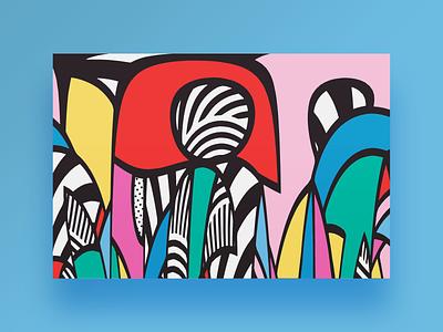 Mysterious strangers / digital art painting personal bauhaus100 bauhaus graphic design gallery contemporary mystery decoration canvas frame artwork art creative design digital painting print abstract geometry geometric illustration vector