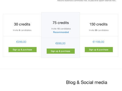 Pricing pricing homepage credits