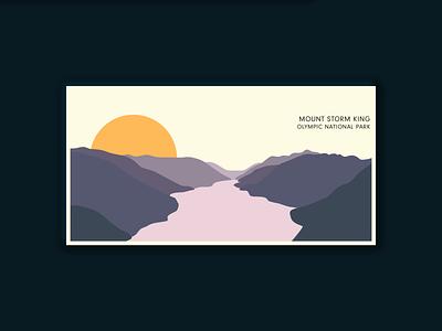 Olympic National Park Postcard: Mount Storm King travel retro national park mountains lake illustration print dribbbleweeklywarmup