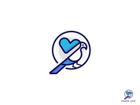 Pigeon Love logodesign bird logo concept branding illustration business logo vector brand identity logotype creative logo heart gradient pigeon minimalistic flat monogram mark logo identity animal