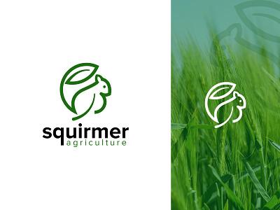 Squirmer Agriculture Logo Design simple logodesign lines flat design natural identity animal eco leaf farming squirrel logo design branding illustration brand identity logo creative logo logotype