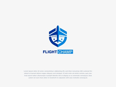 Flight Champ Logo Design Concept symbol identity flight booking plane shield flight logo lettermark logo designer vector concept creative logo brand identity logo design branding logotype