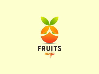 Fruits Ninja Logo Design Concept app logo icon japan warrior juice vector orange ninja fruits branding symbol logo design logo logotype creative logo brand identity logodesigner popular logo logo maker logo agency