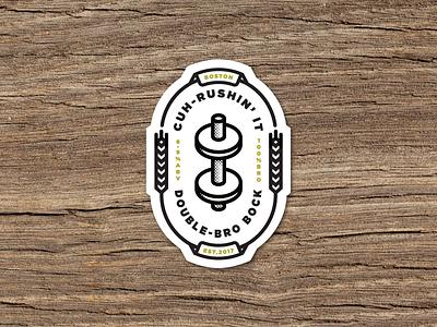 Cuh-Rushin' It Brogrammer Beer Sticker bruh bro weights bock sticker dumbbell brogrammer logo beer