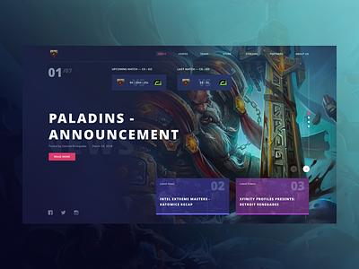 Renegades Website Concept counterstrike csgo redesign ux ui design blue esports gaming
