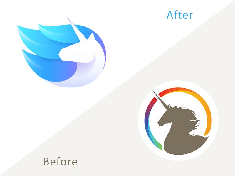 Unicorn logo before after dribbble