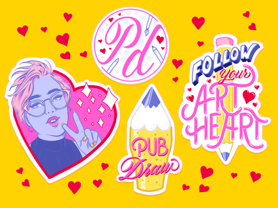 Art Heart! stickers sticker script heart drawing custom type type character illustration kawaii pencil female character typography lettering illustration