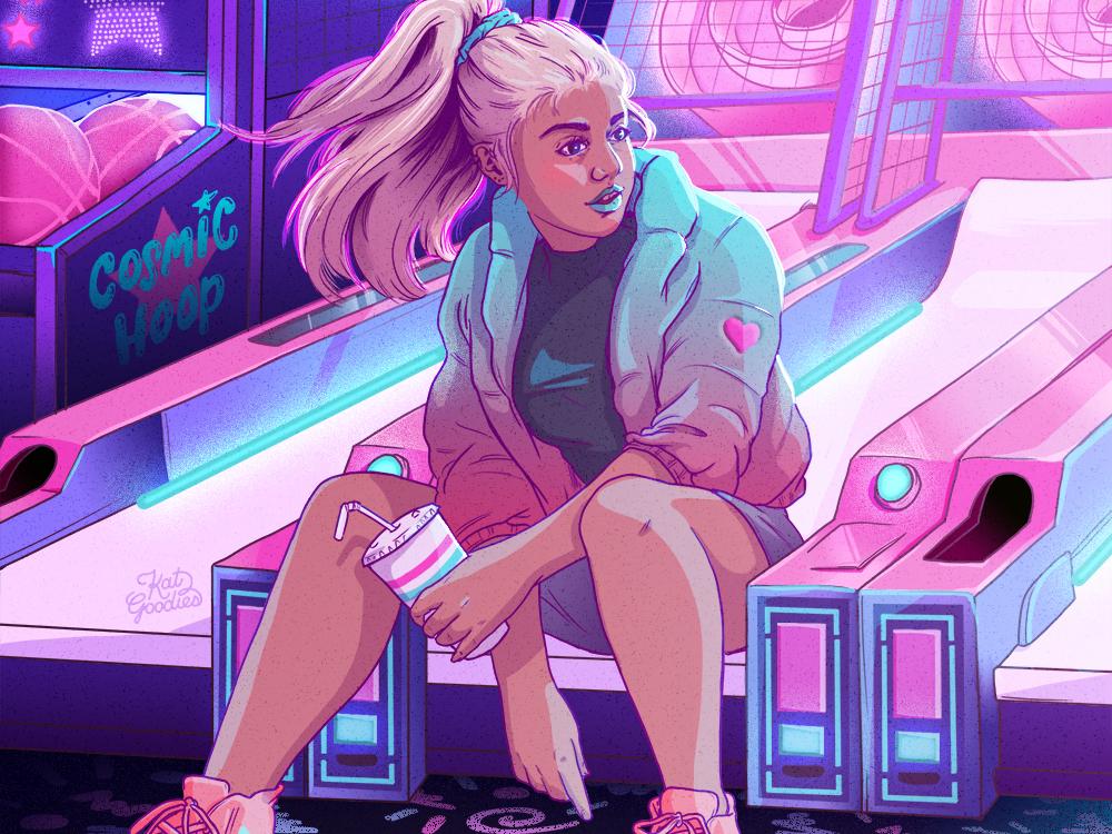 Cosmic Arcade video game art female character neon light video game retro gaming retro game retro gaming arcade neon character design illustration