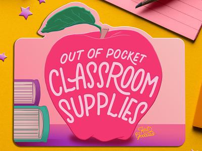 School Supplies apple hand drawn type book gift cards teacher school supplies school typography gift card custom type lettering illustration