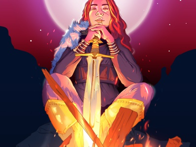 Campfire character illustration nighttime ember character design moonlight night sword campfire fire armor female character warrior illustration
