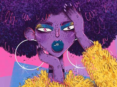 Pop Art Girl gamour glam fur character design character artwork handmade art illustration afro portrait nails pop culture pop art