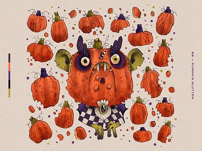 Drawtober 2019 | 05 — Pumpkin Glutton autumn fall character design character artwork handmade art illustration pumpkin glutton pumpkin challenge halloween inktober drawtober