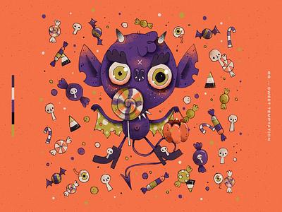 Drawtober 2019 | 06 — Sweet Temptation challenge character design character artwork art handmade illustration creepy scary halloween trick or treat treats candy demon devil