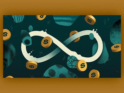 Editorial Illustration | Money Loop header design artwork handmade art illustration finance fintech money blog illustration blog editorial illustration editorial collage