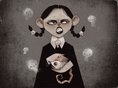 Wednesday Addams dark pet rat halloween scary creepy character design character artwork handmade art illustration addams family wednesday addams