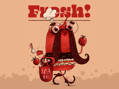 Fresh Burger restaurant merch tee chef ingredients smash burger character design character artwork handmade art illustration