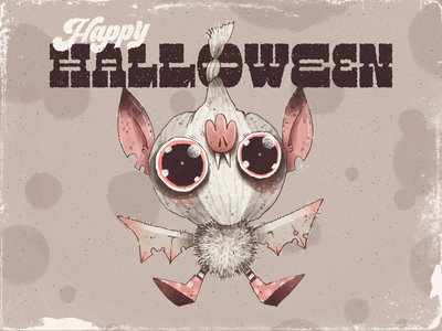 Happy Halloween! bat scary spooky happy halloween halloween character design character artwork handmade art illustration cute vampire garlic