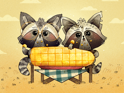 First Anniversary anniversary date corn cute raccoons raccoon character design character artwork handmade art illustration