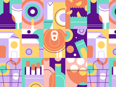hugoMarket | Pattern app superapp grocery app ux ui vector abstract supermarket grocery illustration texture pattern