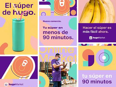 hugoMarket | Posters superapp grocery app groceries grocery store supermarket app ux ui logo branding vector design posters