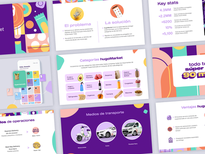 hugoMarket | Sales Deck grocery app app superapp grocery store supermarket grocery branding ux ui vector layout design deck design presentation pitch deck sales deck deck
