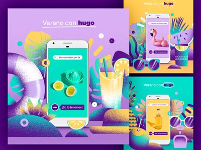 hugoMarket | Summer Campaign superapp grocery app grocery app web art illustration design ux vector ui branding campaign summer