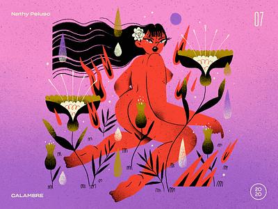 07   Nathy Peluso — CALAMBRE album top 10 record inspiration music tropical floral flowers character design character artwork handmade art illustration woman argentina calambre nathy peluso