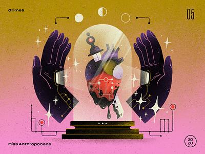 05 | Grimes — Miss Anthropocene robot artwork handmade art illustration sci fi artificial intelligence ai heart tech countdown top 10 album record miss anthropocene grimes