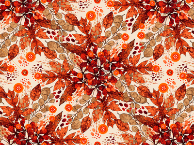 Armonía II   Pattern autumn fall flowers floral pattern design surface design textile clothing texture pattern artwork handmade art illustration