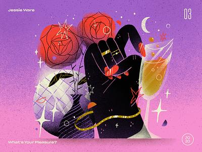 03   Jessie Ware — What's Your Pleasure? rose disco ball disco champagne wine composition artwork handmade art illustration 10x20 countdown top 10 record album jessie ware