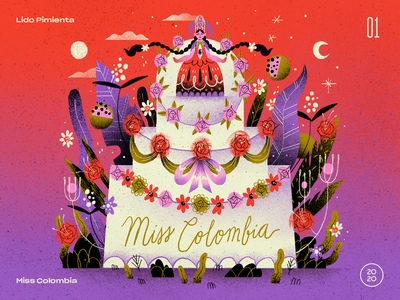 01   Lido Pimienta — Miss Colombia handmade art illustration 10x20 countdown top 10 record album still life composition flowers floral tropical latino quinceañera cake colombian colombia miss colombia lido pimienta
